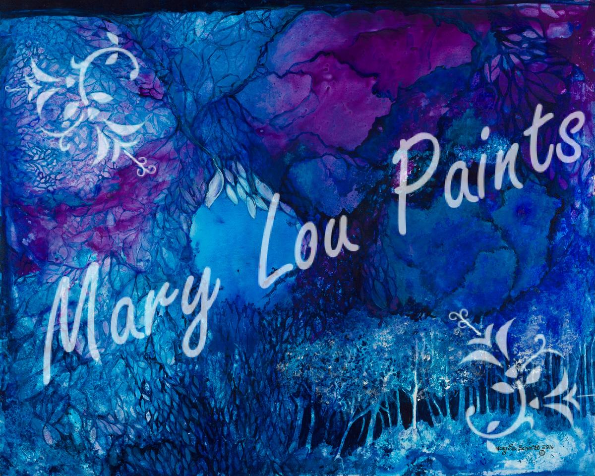 A beautiful place in your imagination of blues and regal purples...